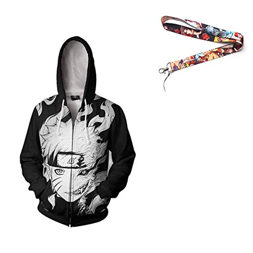 Millennial Commerce Naruto Zip Hoodie w/Free Naruto Lanyard (Two Face Naruto, Large)