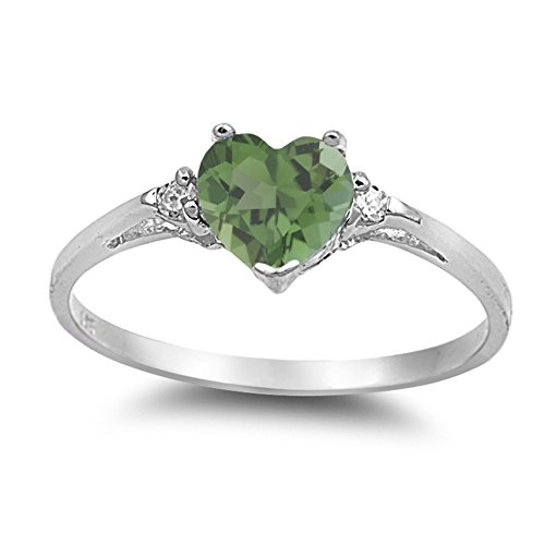 (925 Sterling Silver Faceted Natural Genuine Green Emerald Heart Promise Ring Size 7)