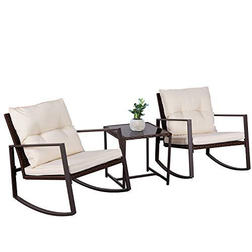 SOLAURA Outdoor Furniture 3-Piece Rocking Bistro