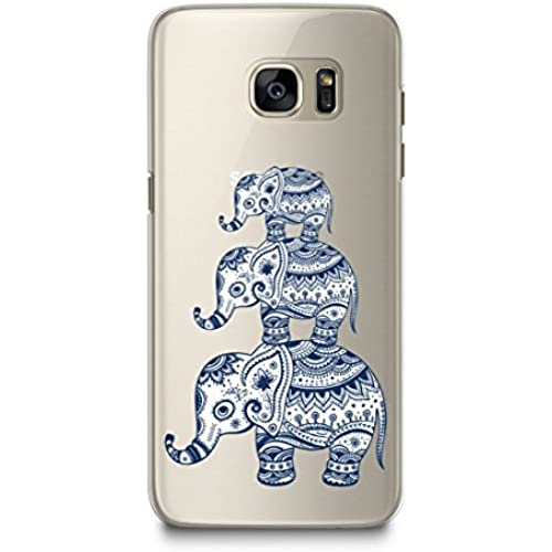 Case for Samsung S7, CasesByLorraine Aztec Elephant Matte Transparent Case Tribal Clear Plastic Hard Cover for Sales