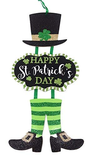 St. Patrick's Day Welcome Shamrock Dangle Signs Width- 6 in. Height -23 in.