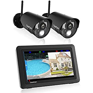"""CasaCam VS802 Wireless Security Camera System with 7"""" Touchscreen and HD Nightvision Cameras, AC Powered (2-cam kit)"""