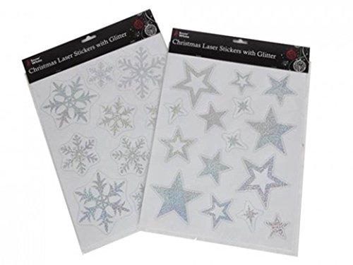 Christmas Star Laser Window Stickers Partyrama 551-065-PMS