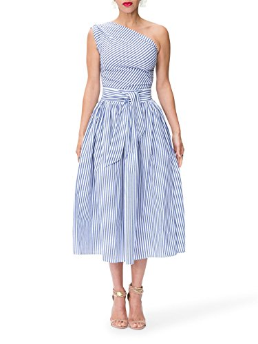 Women's Sexy Street Fashion Office Lady Ruched One Shoulder Blue Stripe Ra-ra Skirt Pencil Skirt Party Club Bandage Club Dress XL ()