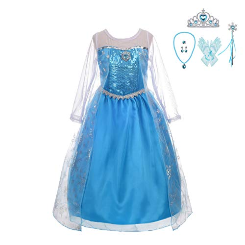 Lito Angels Girls' Princess Elsa Dress Up Costumes Snow Queen Dress Halloween Costume with Accessories Size 2T C -