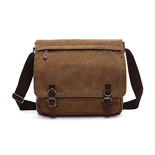 Herren Schulter Umhängetasche Segeltuchtasche Alltags-Tasche Laptop-Tasche für 15 Zoll-Laptops, groß (dunkelbraun ) (Dunkelbraun)