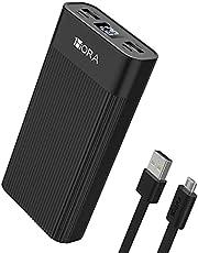 1 Hora Power Bank 20000mAh, Banco de Energía con 2 Puertos de USB, Batería Portátil con Pantalla LED Pila Portatil Compatible para IP Samsung Xiaomi, con un 20CM Cable Micro USB, Negro