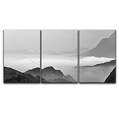 Dazzling Portrait, 3 Panel Landscape of Mountains in The Mist in Black and White x 3 Panels, Crafted to Perfection
