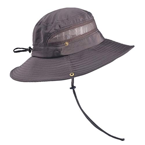 - Men's Mountaineering Hat Outdoor Fishing Sunshade Sun Hat Grid Tie Casual Solid Color Fisherman Hat Coffee