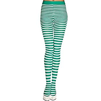 813c2a91f07e7 Amazon.com : Fancy Face Paint Color Halloween Green And White Striped Tights  : Baby