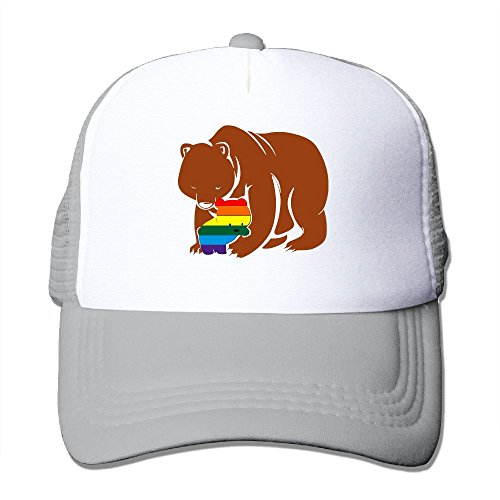 Dancing Bear Head Costume (Engchengx Mama Bear Rainbow Trucker Hat Cool Mesh Hat Ash)