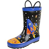 Rainbow Daze Kids Rain Boots Easy-on Handles,Astronaut Spaceship Galaxy Print, Waterproof 100% Rubber, Toddler Size 7/8, Black Blue Outer Space