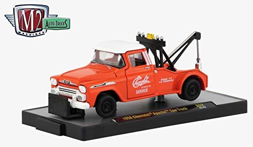 (M2 Machines 1958 Chevrolet Apache Tow Truck (Omaha Orange) Auto-Trucks Series Release 52 - 2019 Castline Premium Edition 1:64 Scale Die-Cast Vehicle (R52 18-62))