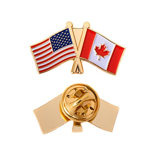 Canada Canadian Country Double Flag Lapel Pin Enamel with United States USA US Souvenir Hat Men Women Patriotic (Double Flag ()