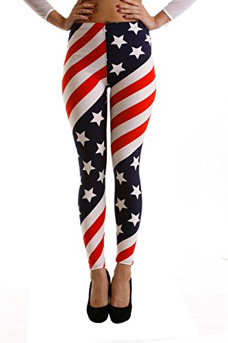 VIV Collection Plus Size Printed Brushed Ultra Soft Leggings (American Flag) ()
