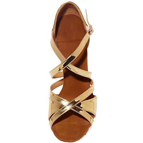 Loslandifen Donne Peep Toe Stile Di Danza Scarpe Da Ballo Criss Cross Strap Fibbia Salsa Tango Sandali Latino Gold-c