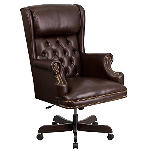 Traditional Leather Executive Chair (Flash Furniture High Back Traditional Tufted Brown Leather Executive Swivel Chair with Arms)