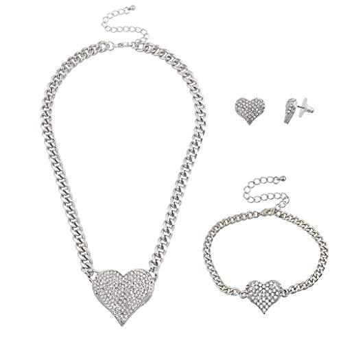 Lux Accessories Silver Tone Bling Heart Chain Earring Bracelet Necklace Set (3PCS)