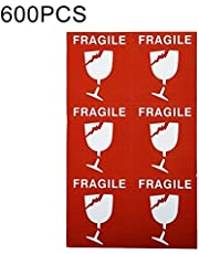 Etiqueta autoadhesiva de advertencia inglesa Etiqueta frágil 600 PCS Tamaño: 7.5 cm X 8.7 cm, El embalaje conveniente