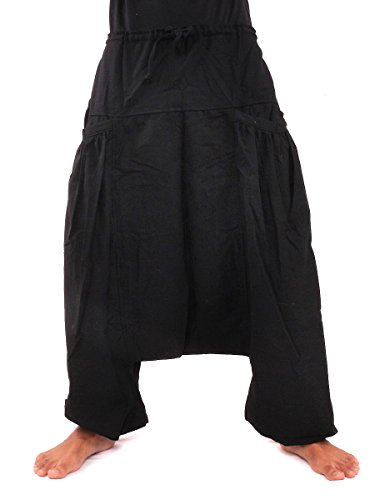 (jing shop Aladdin Harem Baggy Pants with Two Side Pockets One Size Cotton Black)