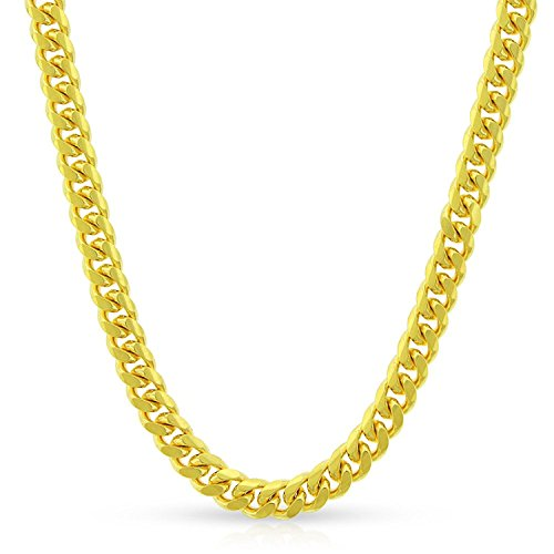10k Yellow Gold 4mm Solid Miami Cuban Curb Link Necklace Chain 20'' - 30'' (24) by In Style Designz