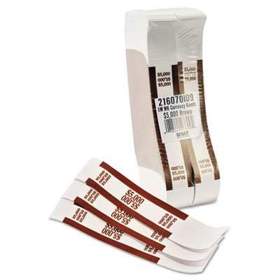 Self-Adhesive Currency Straps, Brown, $5,000 in $50 Bills, 1000 Bands/Pack, Sold as 1000 Each