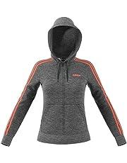 adidas Women's Essentials 3S Full Zip Hoodie Track Tops, Grey (Dark Grey Heather/semi Coral)