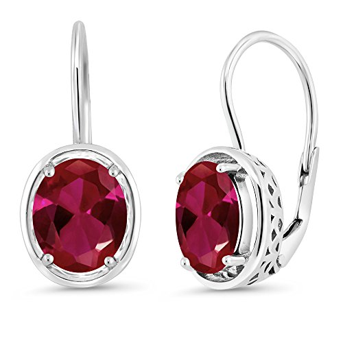 Gem Stone King 4.00 Ct Oval Red Created Ruby 925 Sterling Silver Dangle Earrings