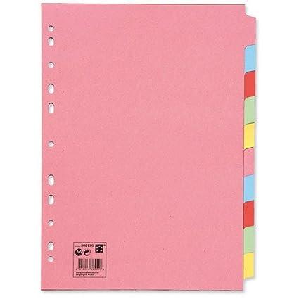 10unidades de separadores de colores para archivador, varios agujeros, cartón