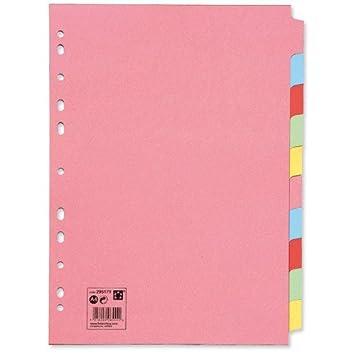 10 unidades de separadores de colores para archivador, varios agujeros, cartón de manila, A4, paquete de 10 (10 x 10): Amazon.es: Oficina y papelería