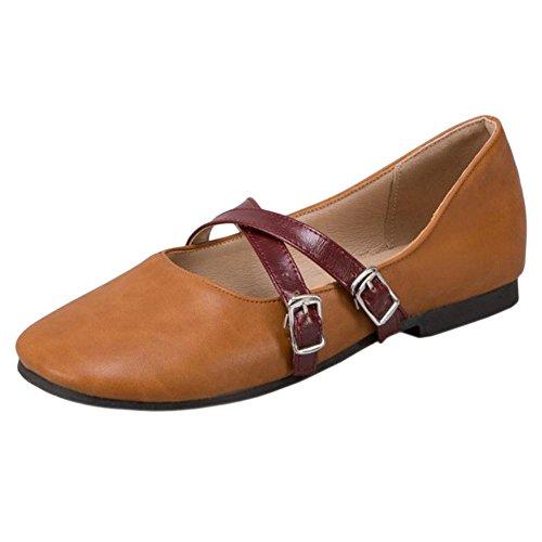 Brown Court COOLCEPT Flats Shoes Yellow Fashion Women 1aaqwYxF6