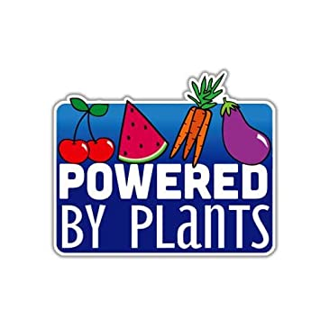 Meganjdesigns powered by plants sticker vegan vegetarian car decal laptop decal animal rights vegetable cute cruelty