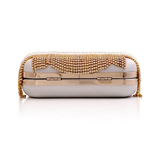 Dress New Pearl Bag Bag Chain Clutch Ms Bag Gold Evening Handmade Diamond BEnwdqxB0X