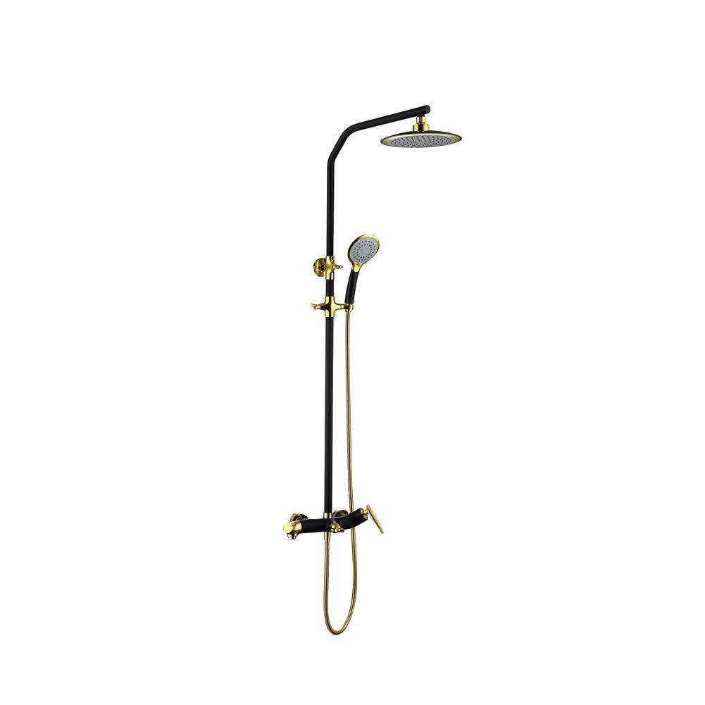GJR-HS Mixer Thermostatisches Duschset, Bad Luxury Shower System mit 3 Funktion schwarz Mixed Gold-Plated Shower Set Fine Copper Belt Faucet Shower Set