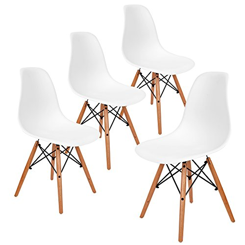 Aukronic Set of 4 Eames Eiffel DSW Style Side Dining Chair, Armless Accent Chairs with Eiffel Natural Beech Wood Base Legs, for Dining Room Waiting Room Bedroom Kitchen (Accent Chairs Dining Room)