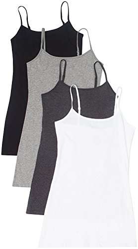 4 Pack Active Basic Women's Basic Tank Top (2X,White/Charcoal/Black/H Gray)