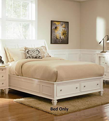 Sandy Beach Queen Sleigh Bed with Footboard Storage White