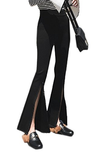 Hi Bell Thin - Andopa Womens Bell-Bottoms Split Leisure Hi-Waist Thin Long Pants High Trousers Pants Black L
