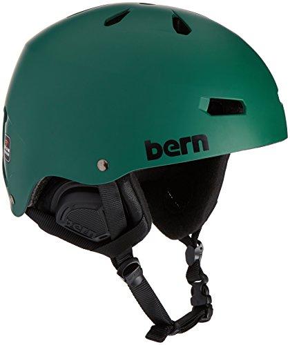 (BERN Macon EPS Helmet - Men's Matte Hunter Green/Black L/XL)