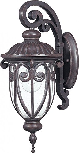 1 Light Arm Down (Nuvo 60/2066 Arm Down Wall Lantern with Clear Seeded Glass, Burlwood, Small)