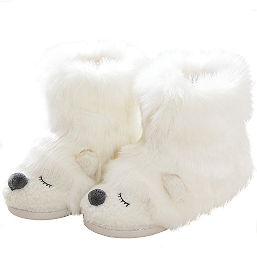 Warm Fleece Sheep Bootie | Funny Stuffed Animal Slippers | Women Indoor Outdoor Home Slippers | Anti-Slip Memory Foam Sole (9-10.5 B(M) US, White Bear) (Plush Booties)