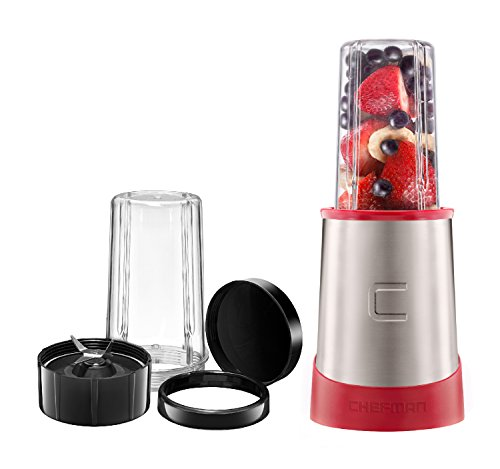Chefman Ultimate Personal Smoothie Blender, Single Serve, Stainless Steel Blending Blade, 2 Travel Cups with Lids, Solid Storage Cover and Comfort Drinking Rim, 6 Piece - RJ28-6-SS-Red by Chefman (Image #8)'
