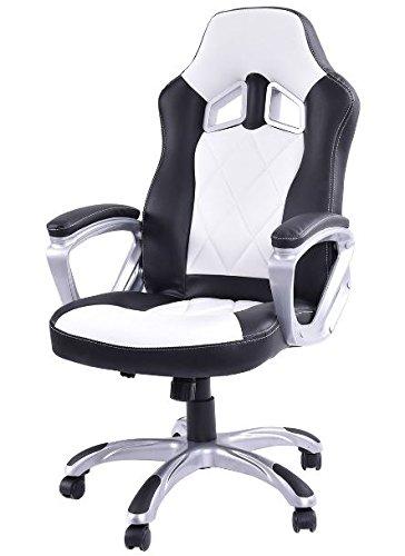 41EPz26Rk4L - KA-Company-Chair-Style-High-Back-Gaming-Racing-Ergonomic-Office-Leather-Pu-Swivel-Computer-Executive-360-Degree-5-Wheels-Mesh-Bucket-Seat-White
