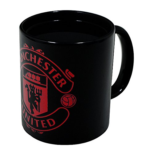 Manchester United FC Official Soccer Crest Heat Changing Mug (One Size) (Black)