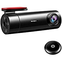 Facamword WiFi Car Dash Cam FHD 1080p 140 Degree Wide Angle Dashboard Camera Recorder with remote snapshot button, Night Vision, Loop recording, G-sensor, Motion Detection, built-in capacitor