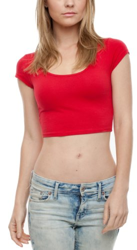 A.S Juniors Cotton Stretchy Cap Sleeve Casual Ballerina Crop Top (Large, Red) ()