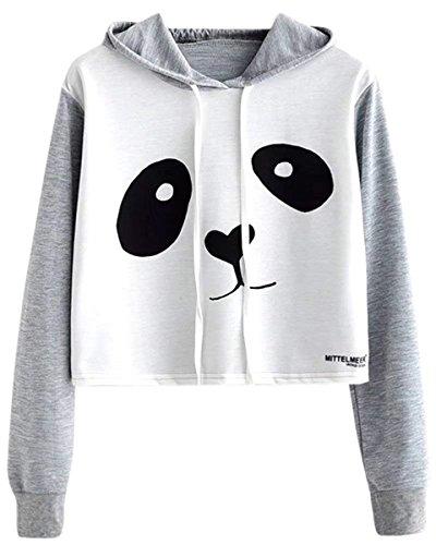 NAWONGSKY Women's Teen Girls Junior Long Sleeves Panda Crop Top Shirt Pullover Hoodie Sweatshirt, Grey, ()