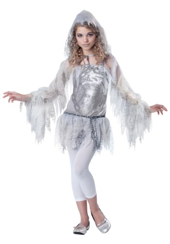 [InCharacter Costumes Tween Sassy Spirit Ghost Costume, White/Silver, Large] (Horror Halloween Costumes For Girls)