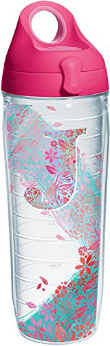 Tervis 1240089 INITIAL-J Botanical Insulated Tumbler with Wrap and Passion Pink Lid, 24oz Water Bottle, Clear ()
