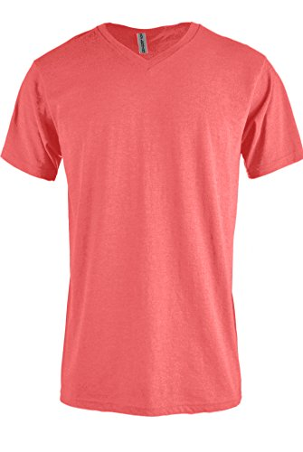 TOP LEGGING TL Men Casual Basic Short Sleeve Tri-Blend/100% Cotton V-Neck T Shirt RVNECK Coral 2XL
